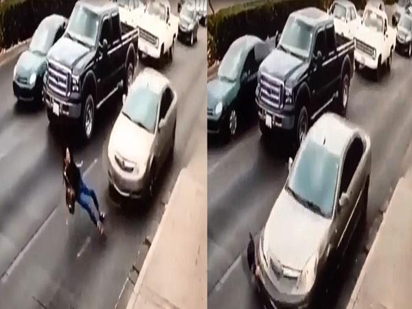 Cô gái trượt thẳng vào gầm ô tô vì mang giày cao gót - Ảnh 1