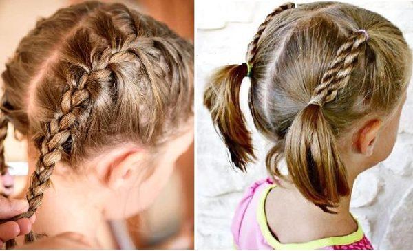 Tết tóc hai bên buộc phía sau cho bé gái
