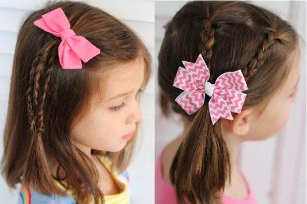 Kiểu tết tóc lệch một bên cho bé gái tóc ngắn