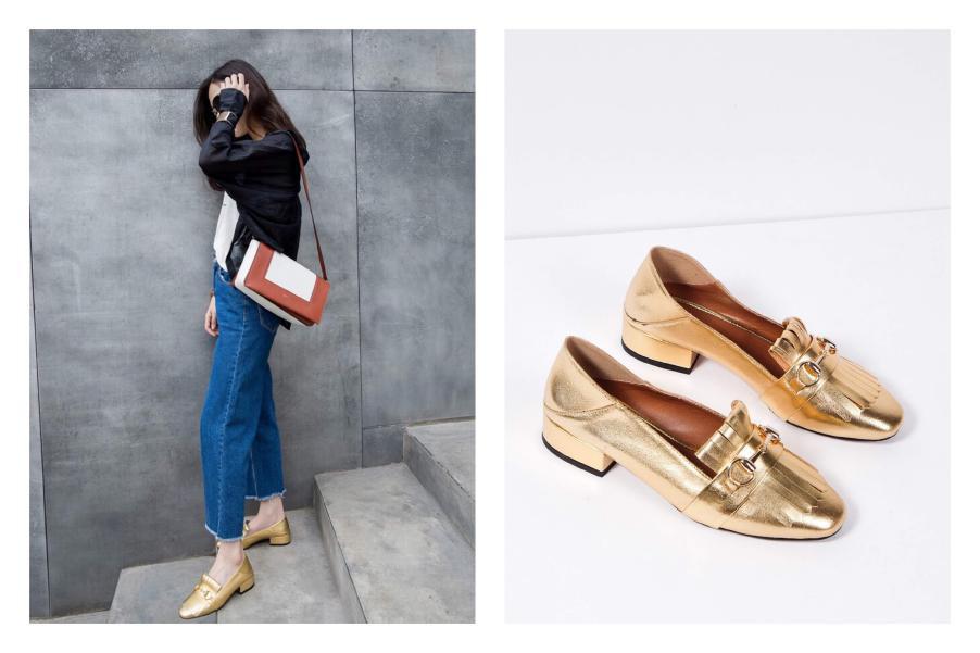 Giày loafers gam màu golden rất phù hợp trong mùa lễ Tết bởi mang đến sự nổi bật, sang chảnh mà không thiếu đi vẻ lịch sự
