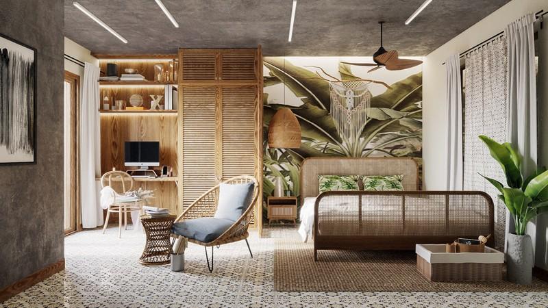 Trang trí phòng khách màu xanh căng tràn sức sống - Ảnh 6