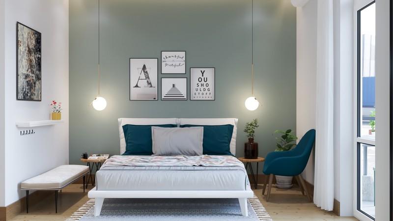 Trang trí phòng khách màu xanh căng tràn sức sống - Ảnh 10
