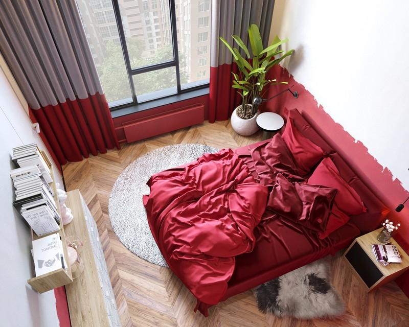 Trang trí phòng ngủ màu đỏ dành cho người năng động - Ảnh 2