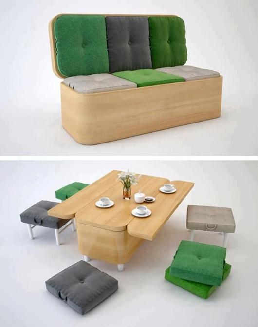"""Từ một chiếc ghế sofa đẹp mắt, ai có thể ngờ chỉ trong giây lát nó đã """"biến hình"""" thành một bộ bàn ăn nhỏ xinh, tiện lợi thế này."""