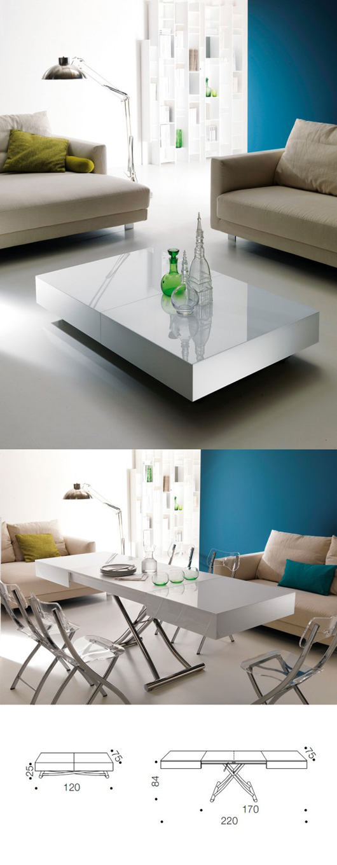 Từ một chiếc bàn uống nước, sau vài thao tác đã dài ra gấp đôi, trở thành một chiếc bàn ăn hiện đại.
