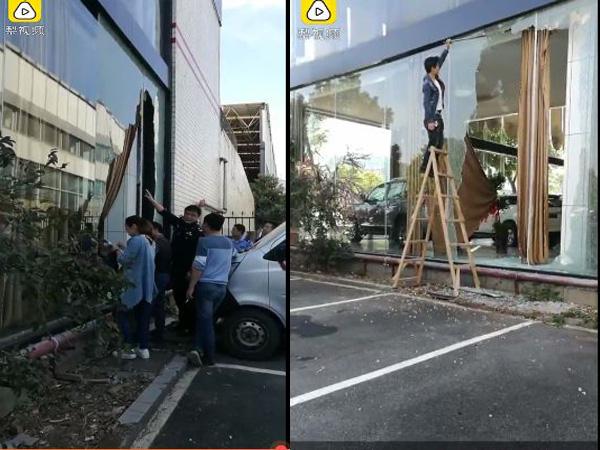 Sự việc khiến hai chiếc xe khác hư hỏng, kính cửa hàng vỡ nát