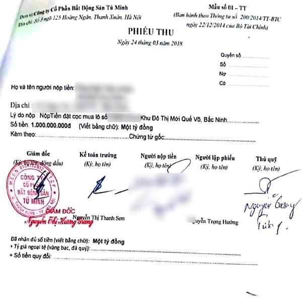 Phiếu thu tiền được cho là của Công ty Tú Minh thu của khách hàng mua đất tại Dự án KDTM Quế Võ. (Ảnh: Báo Thanh tra)
