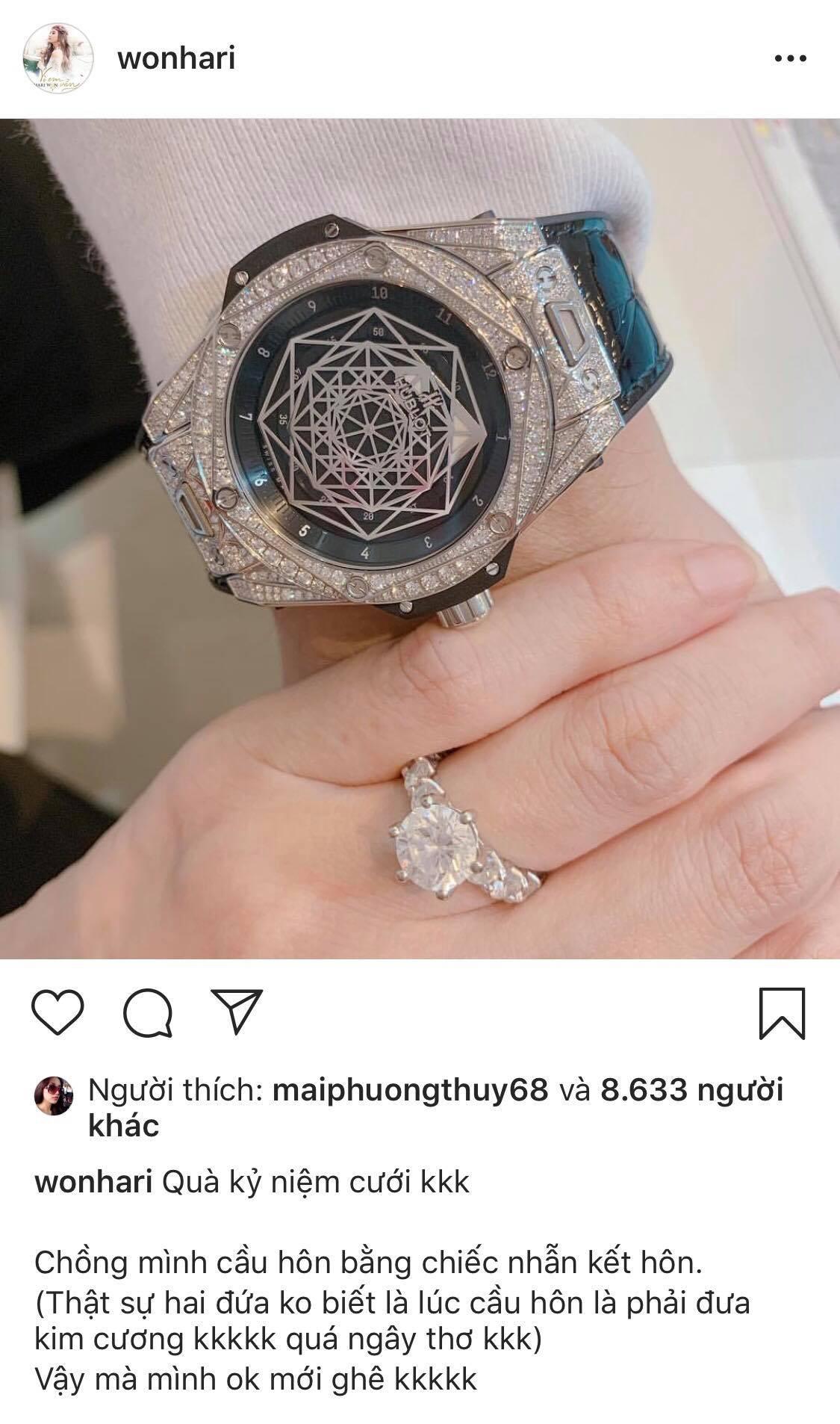 Hari Won khoe quà kỷ niệm ngày cưới 'khủng', bật mí thú vị về màn cầu hôn của Trấn Thành - Ảnh 1
