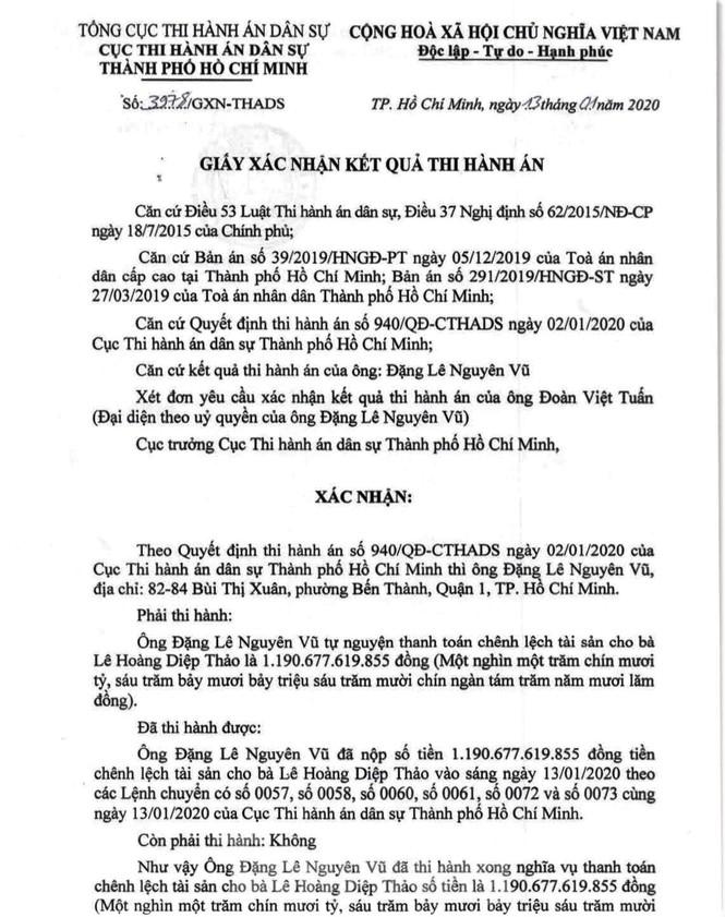 Ông Đặng Lê Nguyên Vũ đã nộp xong gần 1.200 tỷ thi hành án - Ảnh 1