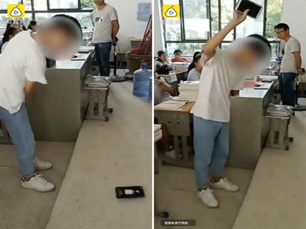 Thầy giáo phạt học sinh bằng cách cho đập thoại trong lớp học