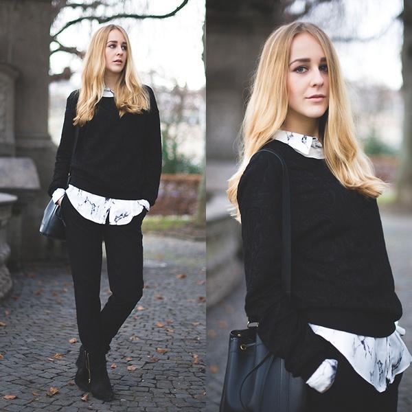 Bộ đôi sơ mi + áo len là công thức mà các tín đồ thời trang rất yêu thích khi Thu tới vì tính lịch sự, năng động của nó.