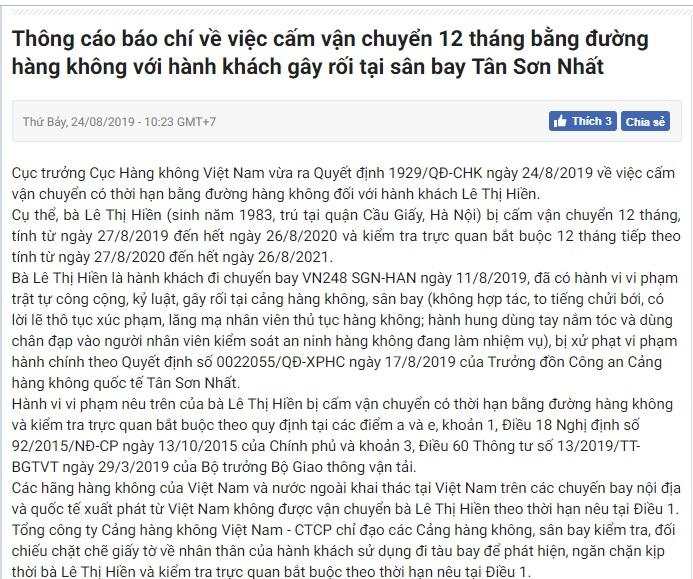 Nóng: Nữ hành khách 'đại náo' sân bay Tân Sơn Nhất bị cấm bay 1 năm  - Ảnh 3