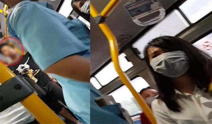Lại bắt quả tang thanh niên tự sướng trên xe buýt, nữ sinh viên tung cước đánh tơi tả kẻ biến thái sờ soạng chốn đông người - Ảnh 1