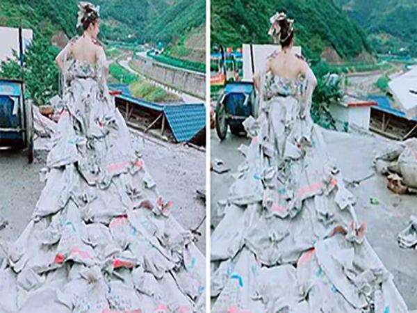 Cô gái mang chiếc váy tự làm từ 40 chiếc vỏ bao xi măng