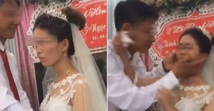 Xôn xao hình ảnh cô dâu bị đánh sau khi đẩy chú rể hôn trong đám cưới - Ảnh 1