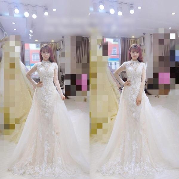 Rò rỉ ảnh váy cưới đính 8.000 viên pha lê của ca sĩ Khởi My - Ảnh 1