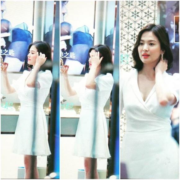 Song Hye Kyo trẻ như gái đôi mươi, gợi cảm với đầm trắng tinh khôi - Ảnh 5