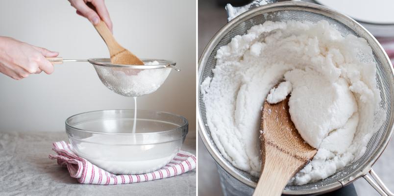 Lọc phần sữa dừa trắng đặc sền sệt sau khi xay hỗn hợp