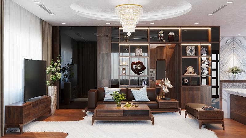 Không gian nội thất nhà phố sang trọng với gỗ óc chó - Ảnh 2