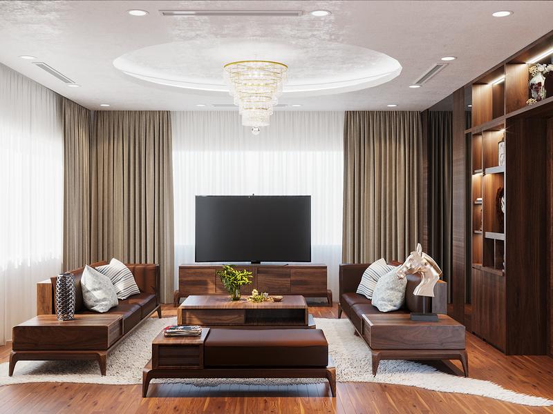 Không gian nội thất nhà phố sang trọng với gỗ óc chó - Ảnh 1