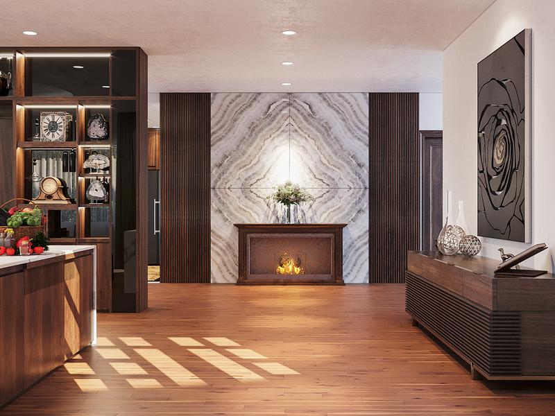 Không gian nội thất nhà phố sang trọng với gỗ óc chó - Ảnh 5