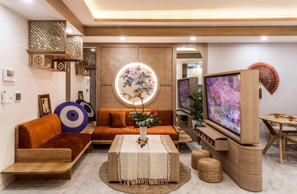 Căn hộ 75 m2 phong cách Á Đông với chất liệu gỗ chủ đạo - Ảnh 3