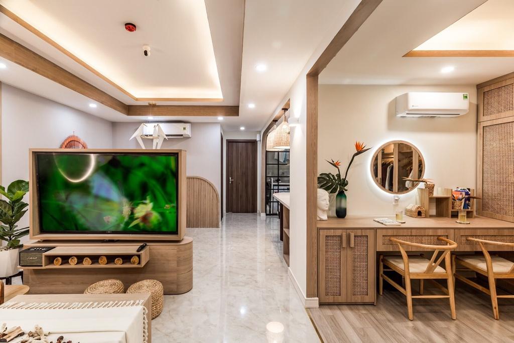 Căn hộ 75 m2 phong cách Á Đông với chất liệu gỗ chủ đạo - Ảnh 4