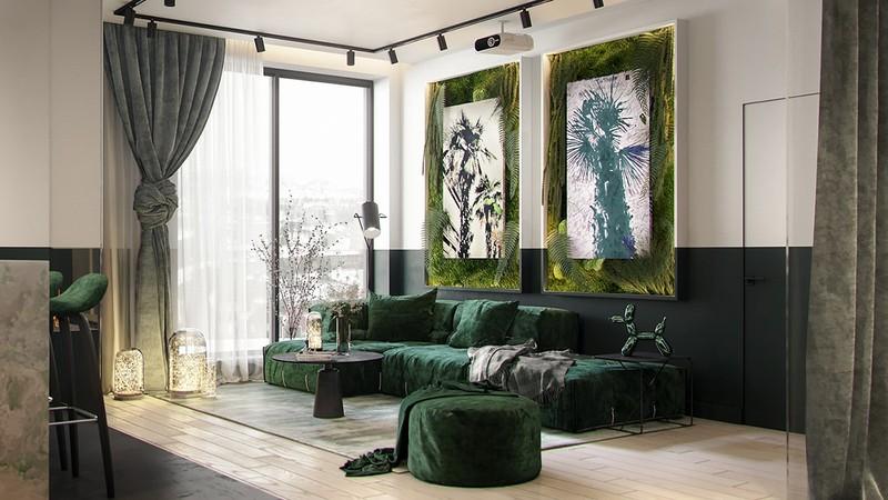 Nội thất trang trí màu xanh lá cây tươi mới - Ảnh 2