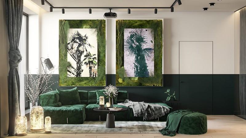 Nội thất trang trí màu xanh lá cây tươi mới - Ảnh 1