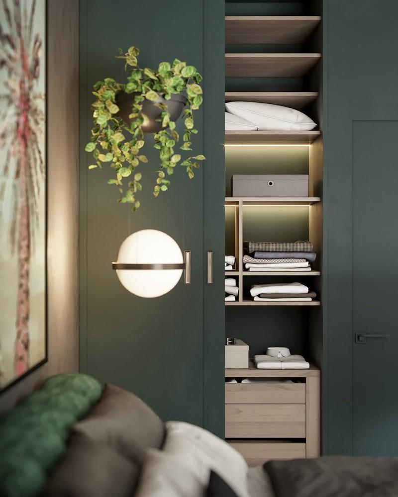 Nội thất trang trí màu xanh lá cây tươi mới - Ảnh 8