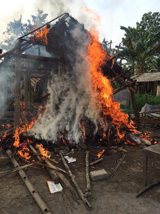 Mẹ ôm con thoát khỏi căn nhà bốc cháy ngùn ngụt - Ảnh 1