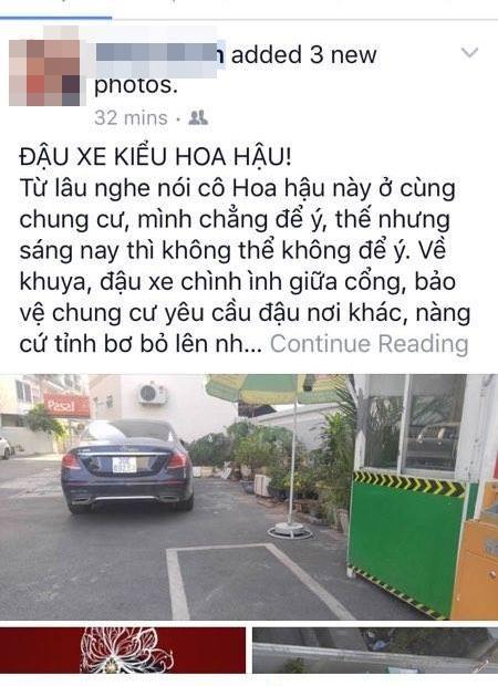 SỐC: HH Kỳ Duyên bị hàng xóm tố kém văn hóa, về khuya đậu xe giữa cổng - Ảnh 1