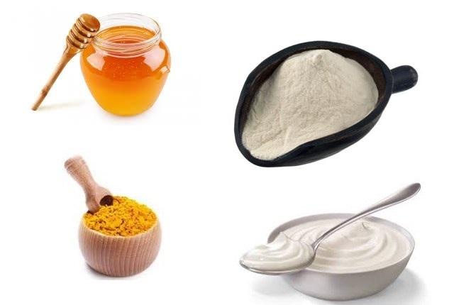 Làm mặt nạ trị mụn và sẹo từ bột nghệ, bột gạo, mật ong, sữa chua 100% có hiệu quả