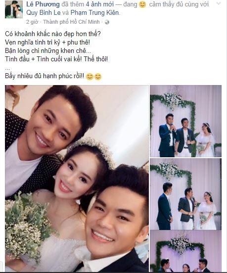 Lê Phương đăng ảnh tình đầu Quý Bình - tình cuối Trung Kiên đứng cạnh nhau với caption khiến nhiều người choáng