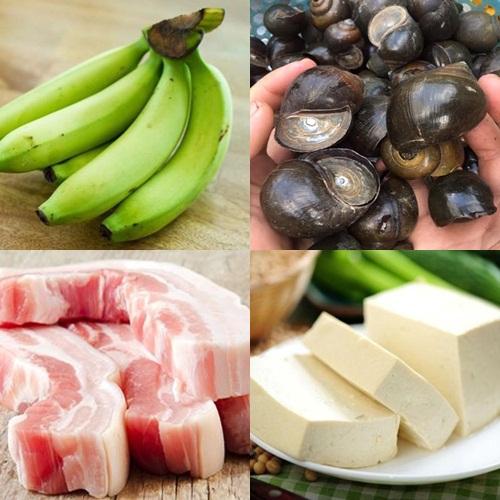 Nguyên liệu cho món ốc om chuối đậu