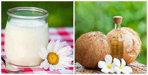 Dưỡng trắng da bằng mặt nạ dầu dừa và sữa chua