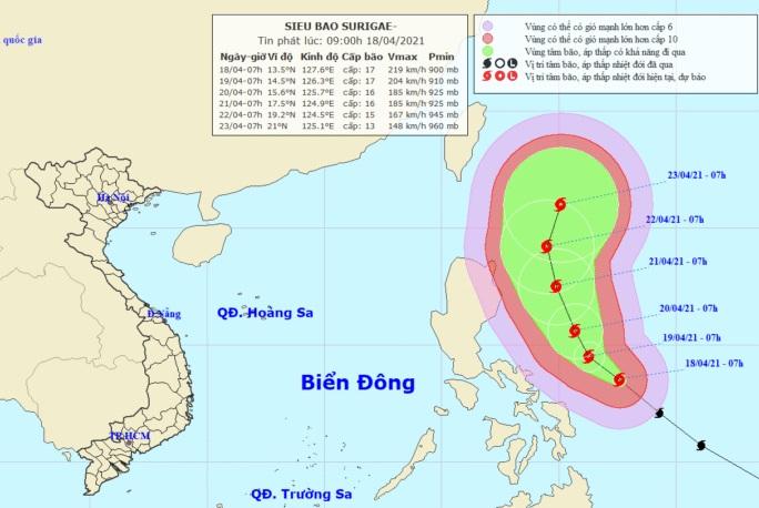 Siêu bão Surigae mạnh cấp 17, yêu cầu các tỉnh sẵn sàng ứng phó - Ảnh 1