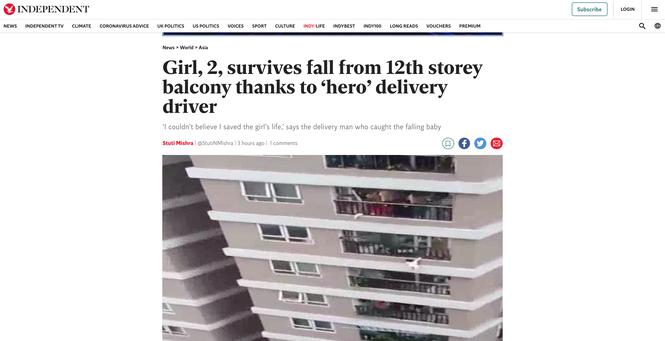 'Người hùng' cứu bé gái rơi từ tầng 12 ở Hà Nội lên báo Anh - Ảnh 1