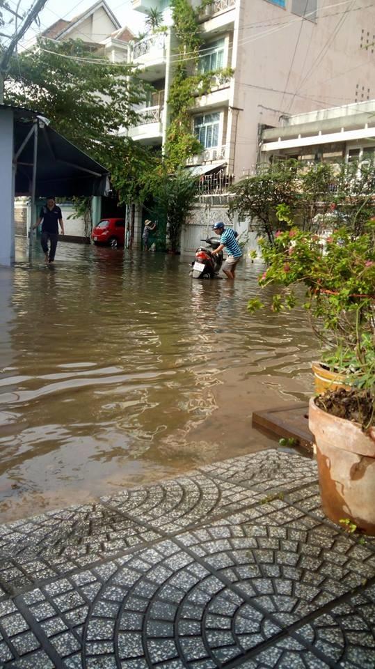 Mưa lớn, 'phố biến thành sông', người dân Sài Gòn bì bõm dắt xe 'bơi' về nhà - Ảnh 14
