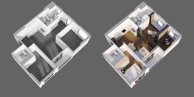 Hiện trạng căn hộ ban đầu ở ngoại ô Hà Nội khá bí và thiếu ánh sáng tự nhiên với những vách tường phân chia không gian theo cách truyền thống. KTS đã thay thế những bức tường bằng vách kính, kết hợp rèm, đảm bảo công năng sinh hoạt riêng tư cho gia chủ và cũng giúp không gian được tùy biến tốt hơn, nhằm tối ưu lượng ánh sáng và không gian cho căn hộ.