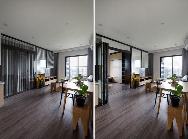 Việc kết nối không gian phòng khách và phòng làm việc bằng vách kính đã gia tăng đáng kể lượng ánh sáng tự nhiên vào nhà thông qua phần cửa sổ.