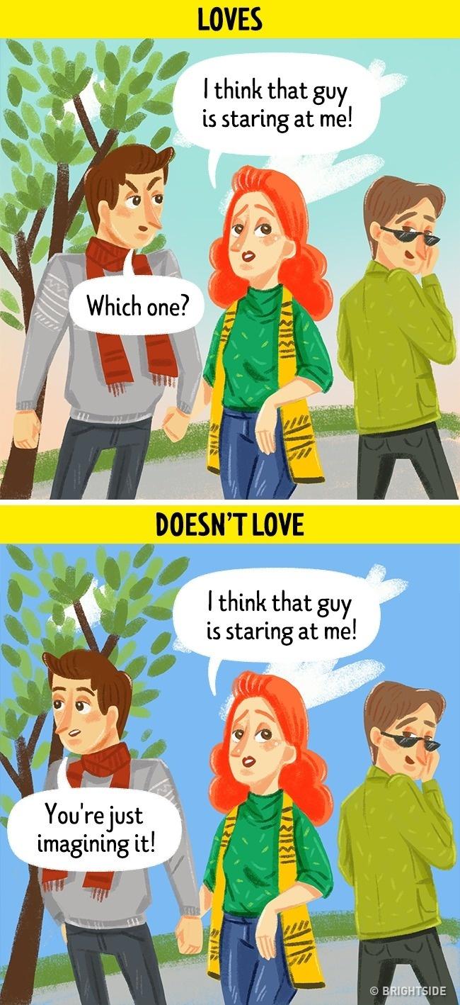 Nam giới khi hết yêu sẽ không quan tâm đến những đối thủ đang muốn tiếp cận cô gái của mình
