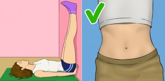 Nằm ngửa đưa chân thẳng lên tường - bài tập đốt mỡ thừa hiệu quả ngay trên giường chỉ với 20 phút mỗi tối - Ảnh 1