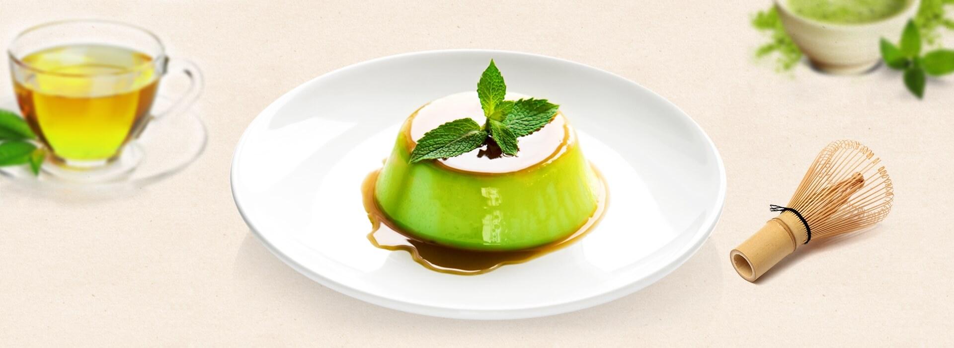 Bánh flan trà xanh bắt mắt ngay từ tạo hình - Ảnh minh họa: Internet