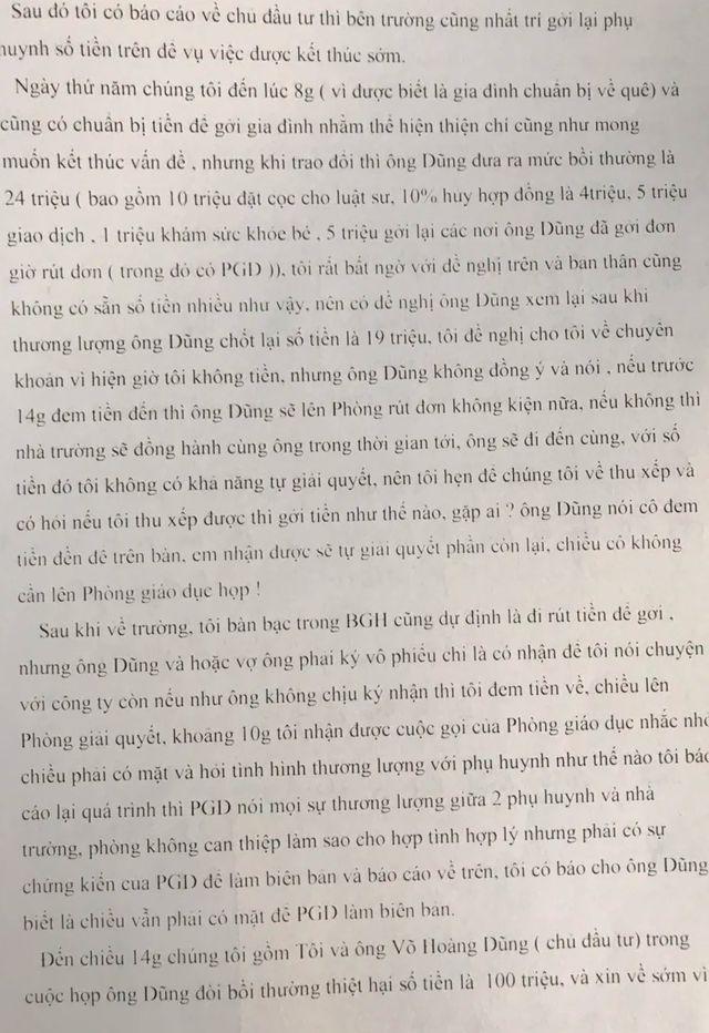 Con bị cô giáo đánh, phụ huynh đòi bồi thường 100 triệu đồng: Tường trình của nhà trường - Ảnh 3