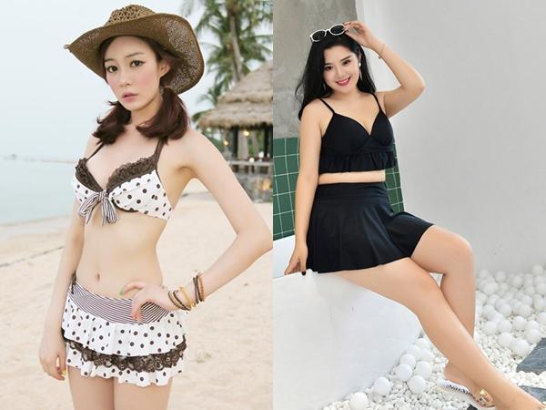 Bikini dáng xòe được thiết kế đơn giản với kiểu dáng xòe bên dưới giúp che lớp mỡ bụng, khiến cho chị em công sở thêm phần tự tin hơn