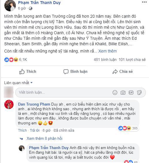 Đan Trường lên tiếng bảo vệ Thanh Duy khi đàn em bị dân mạng chỉ trích.