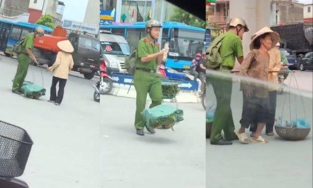Nam sinh Học viện cảnh sát giúp đỡ các bà cụ gánh hàng qua đường giữa trưa nắng hè gây sốt mạng xã hội - Ảnh 1