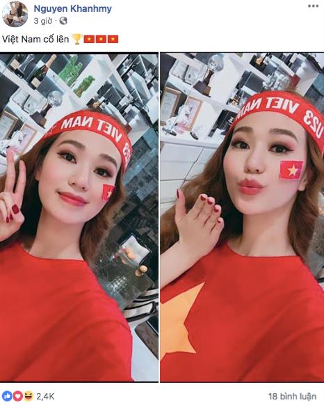 Tiểu Vy, H'Hen Nie đang thi nhan sắc quốc tế cũng rộn ràng mừng chiến thắng của ĐTVN - Ảnh 4