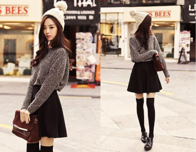 Áo len là sự lựa chọn phù hợp với chân váy xòe